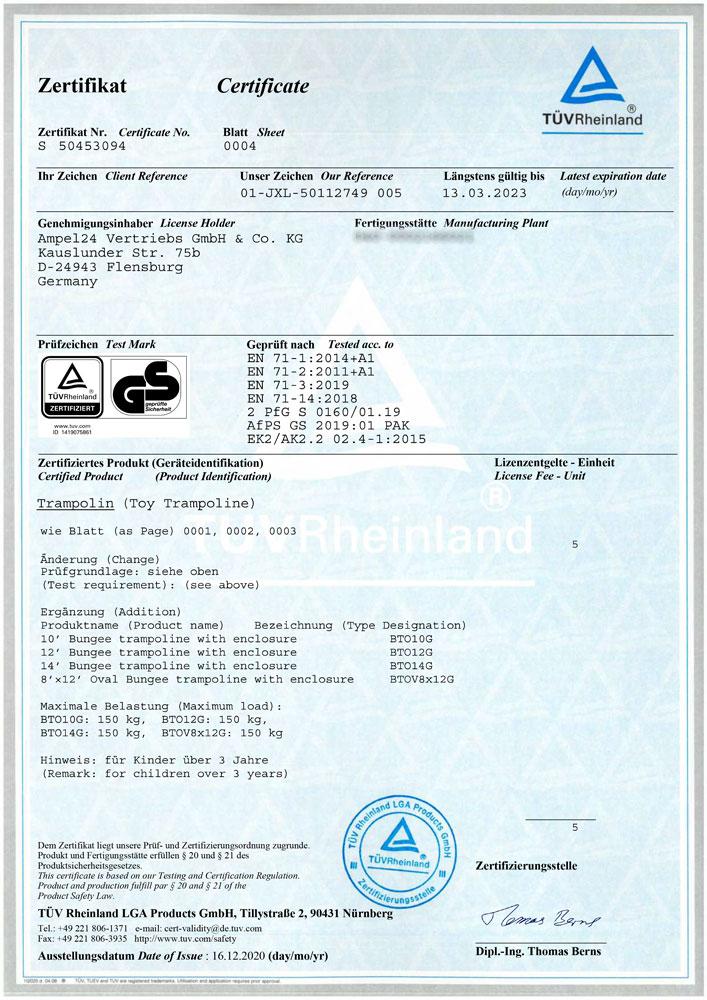 TÜV Rheinland Zertifikat für Ampel 24 Bungee Trampoline