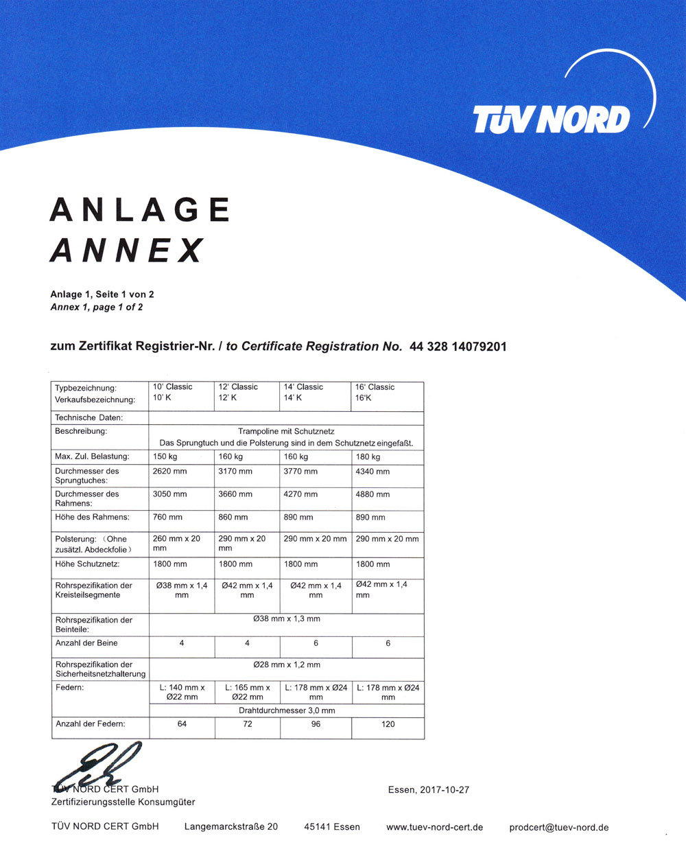 Ampel 24 Trampoline sind TÜV und GS zertifiziert. Seite 2 Klassik Trampoline