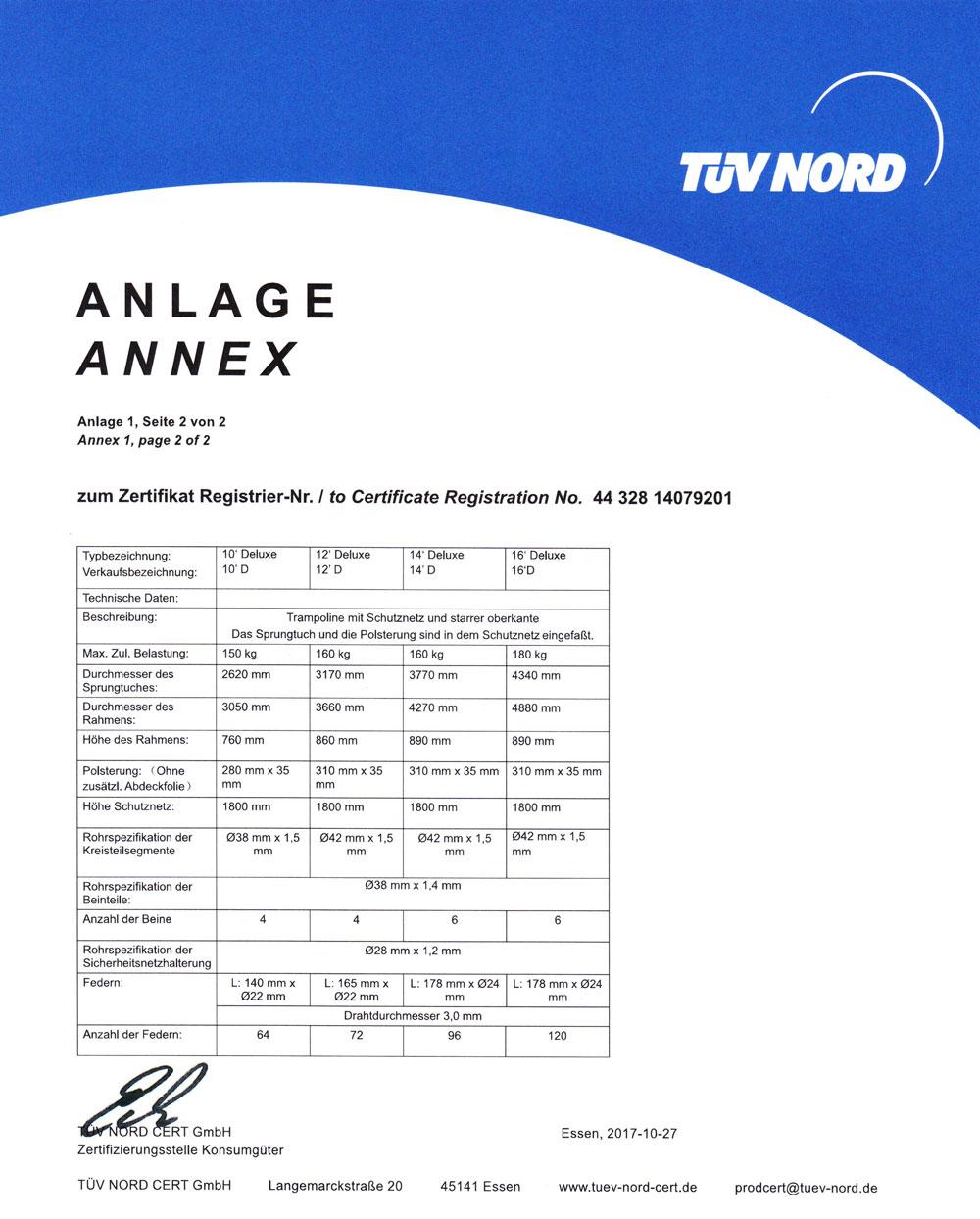Ampel 24 Trampoline sind TÜV und GS zertifiziert. Seite 3 Deluxe Trampoline