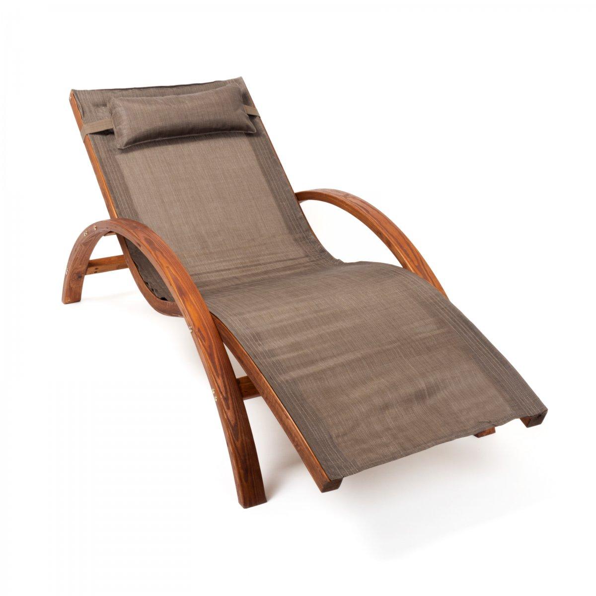Relax- und Gartenliege Tropica 160x70 cm, Holz, mit Kopfkissen zum ...