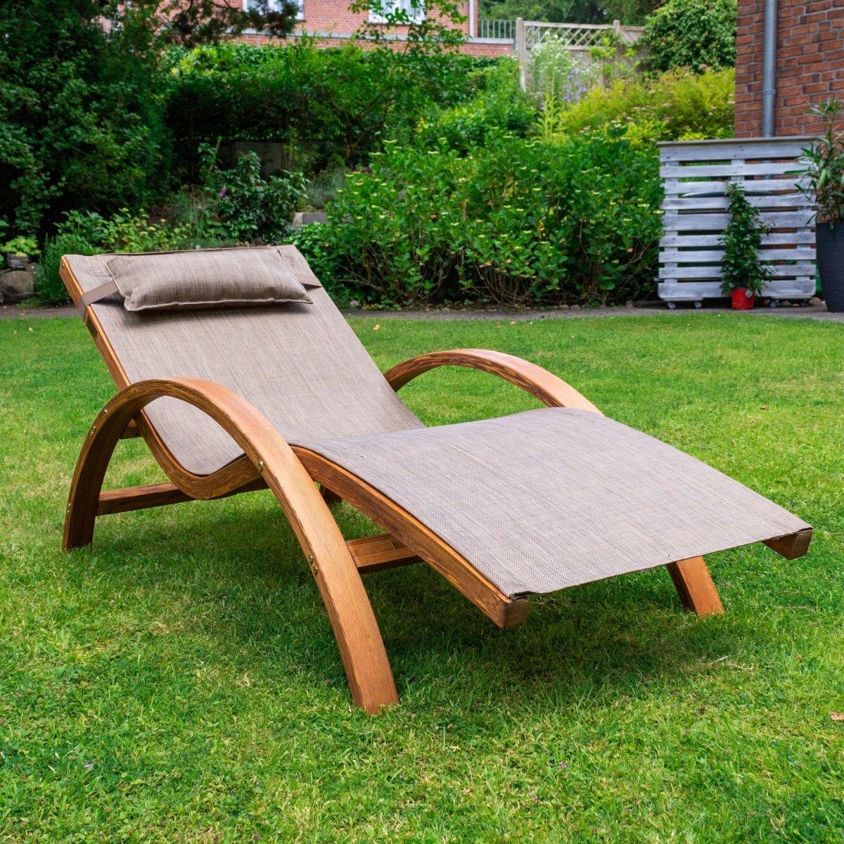 relax und gartenliege tropica 170x70 cm holz mit kopfkissen zum entspannen. Black Bedroom Furniture Sets. Home Design Ideas