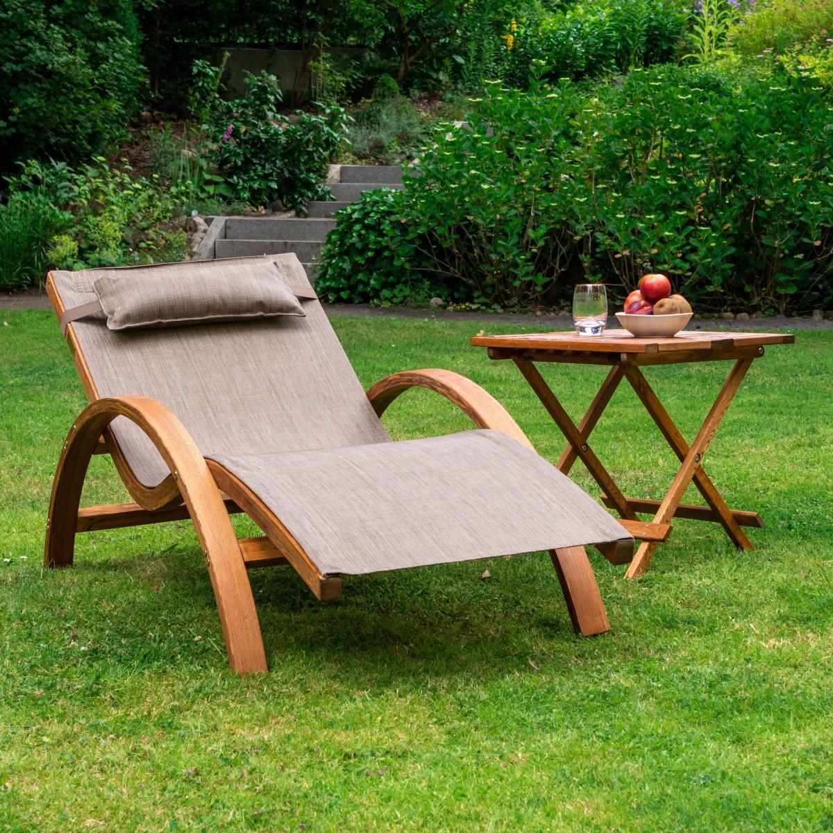 relax und gartenliege tropica 160x70 cm holz mit kopfkissen zum entspannen. Black Bedroom Furniture Sets. Home Design Ideas