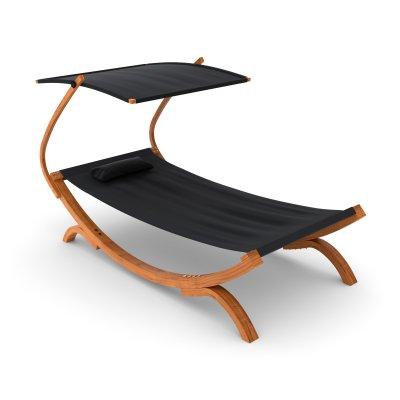 sonnenliege mit dach in schwarz. Black Bedroom Furniture Sets. Home Design Ideas