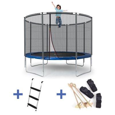 Klassik Trampolin M - blau (Ø 305 cm, Set mit Leiter & Sicherung, bis 150 kg)