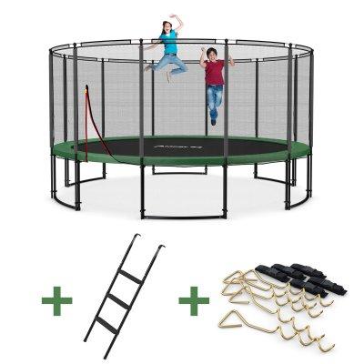 Deluxe Trampolin XXL - Netz außen (Ø 490 cm, Set mit Leiter & Sicherung, bis 180 kg)