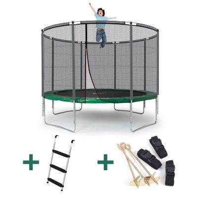 Klassik Trampolin M - grün (Ø 305 cm, Set mit Leiter & Sicherung, bis 150 kg)
