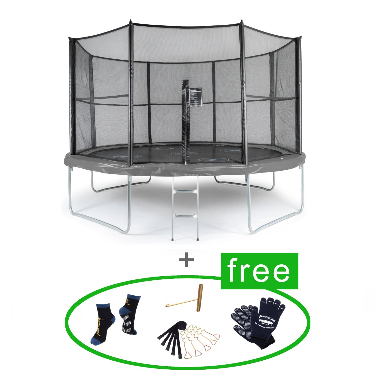 Akrobat Trampolin Orbit 366 cm All In One (rund, grau, bis 130 kg)